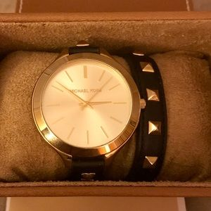 Michael Kors double wrap leather watch big round